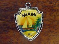Vintage silver MIAMI FLORIDA BEACH SAILBOAT TRAVEL SHIELD charm #1 ONE OF A KIND