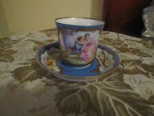 SEVRES CHATEAU de TUILERIES Hand Painted Porcelain CUP & SAUCER - Rare