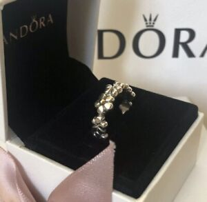 PANDORA Sterling Silver and 14ct Gold Daisy Chain Ring Size 54 New in Box 190440