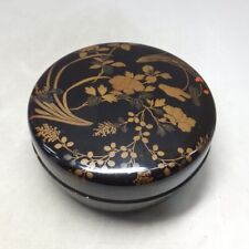 C247: Japanese covered bowl KASHIKI of really old lacquer ware w/flower MAKIE