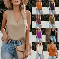 Women Summer Holiday Vest Cami T Shirt Ladies Loose Casual Tops V-Neck Blouse UK