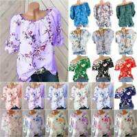 Plus Size Women Boho Floral T Shirt 3/4,Short Sleeve Casual Loose Blouse Tee Top