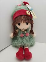 "HWD Kawaii Cute in Japanese Plush Doll 18"" Soft Stuffed Girl Doll Green Dress"
