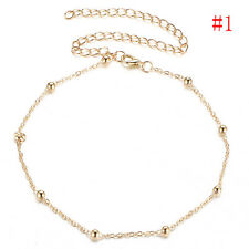 Women Gold Silver Simple Beaded Choker Necklace Satellite Chain Minimal Delicate
