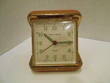 Vintage Phinney-Walker Wind-Up Travel Alarm Clock - Germany - Works - Brown Case