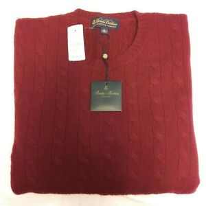 $368 NWT Men's BROOKS BROTHERS Cashmere Sweater -Made In Italy XL Burgundy
