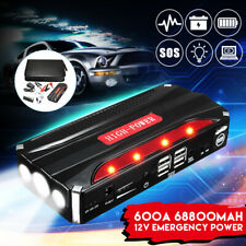 12V 68800mAh Car Jump Starter 4USB Emergency Auto Power Bank Rechargable Battery