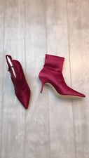 ZARA Women's High Heel Satin Ankle  Boots(Aubergine, US  7.5/EUR  38)