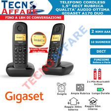 Telefono Cordless Nero Comunicanti Duo Fisso Casa Gigaset A170 Duo