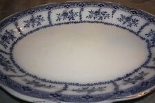 """Royal Semi Porcelain Wedgwood Blue and White 16"""" X 12.75""""  Oval Platter """"Muriel"""""""