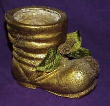 vintage Gold Glittered paper mache Christmas Santa Boot w Velvet leaves pinecone