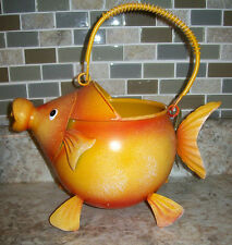 "Gold Fish Metal Watering Can 9""l x 7.25""w x 8.50""h Brand New"