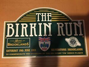 1993 THE BIRKIN RUN BRDC BROOKLANDS BENTLEY DRIVERS CLUB RALLY PLATE