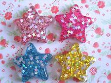 4 x Mixed Glitter Stars Flatback Resin Embellishment Crafts Hair bow, Cabochon
