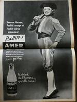 PUBLICITÉ DE PRESSE 1957 PSCHITT AMER PERRIER AVEC JEANNE MOREAU