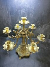 More details for vintage heavy solid brass 7 candle 6 arm candelabra made in india 🕎🕯️