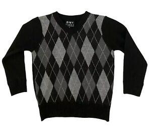 Boys Argyle Diamond Black & Gray Sweater V-Neck Size 4 Long Sleeve By FAZE 1