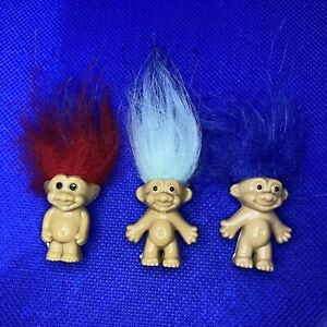 Vintage Trolls Bundle Set x 3 Figure Toys with Long Coloured Hair With Gift Bag