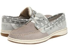 SPERRY Top-Sider Bluefish Gray Leather Boat Shoes Anchors NIB Wmns Sz 6.5 /37