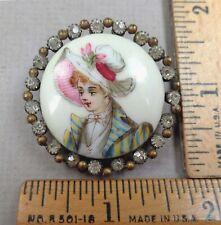 ELEGANT WOMAN Antique BUTTON #3, 1800s, Painted Porcelain w/ Paste Border, LARGE