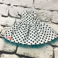 Our Generation Doll Clothes Black White Polka Dot Sleeveless Dress Blue Trim