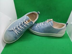 Ecco Soft 8 Lace Up  Leather Comfort Sneakers  Women's Size 8 Jeans Color