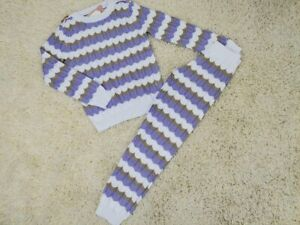 CHILDRENS KIDS GIRLS LILAC KNITTED LOUNGE SET TRACKSUIT TWO PIECE
