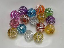 200 Mixed Color Sparkling Spiral Silver Dots Acrylic Round Beads 8mm Craft