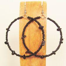 "2"" Stone Chip Shiny Black Color Bohemian Handmade Seed Bead Hoop Earring"