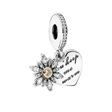 100% Authentic PANDORA 'Snowflake Heart' Two-Tone Dangle Charm 792012CZ