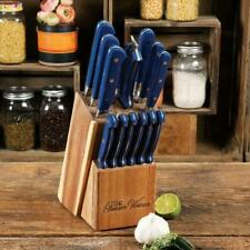 The Pioneer Woman Cowboy Rustic 14-Pc Forged Cutlery Knife Block Set Royal Blue