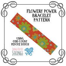 Flowery Po Peyote Bracelet Pattern - Odd Count Peyote Stitch Chart