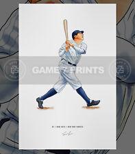 Babe Ruth New York Yankees Baseball Illustrated Print Poster Art