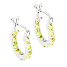 100% NATURAL PERIDOT SMALL HOOP EARRING NATURAL RARE STERLING SILVER 925 EARRING