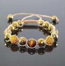 Damen Gold/Braun Tiger Auge Perlen Shamballa Armband verstellbar für Frauen