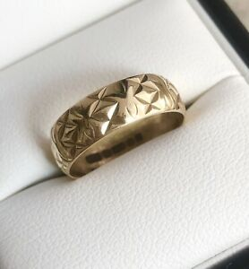 Vintage 9ct Yellow Gold 6mm Patterned Band Ring Size L1/2 Item ~ B1268