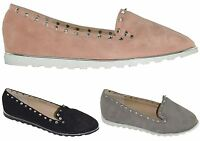 New Womens Ladies Casual Studded Diamante Suede Loafers Pumps Ballet Flat Shoes