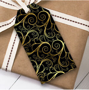 Black Gold Swirls Christmas Gift Tags (Present Favor Labels)