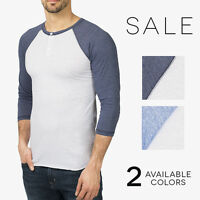 Apollo Premium Henley 3/4 Tri Blend Baseball Henley T-Shirt Colorblock Tee Shirt