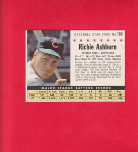 1961 Post Cereal #192 Richie Ashburn (Company) EX/NM (MK) Chicago Cubs Lot#16244