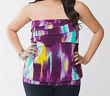 Lane Bryant 26W 28W 3X Purple Aqua Yellow Tank Cami Tube Top Plus Size