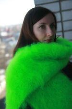 Premium Longhair Mohair scarf furry hand knit Jane Rodas Fetish Green Men Women
