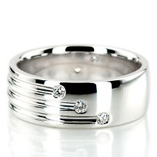Real 0.35 Ct Natural Diamond Mens Wedding Anniversary Ring Size S 14K White Gold