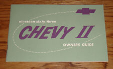 1963 Chevrolet Chevy II Nova Owners Operators Manual 63