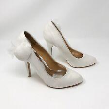 Badgley Mischka White Satin Bridal Heels Size 8.5 Wedding Pumps Shoes Lace