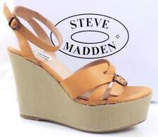 59c3b758e29 Womens Steve Madden Twitzer Ankle Strap Platform Wedge Sandals Cognac Size 9