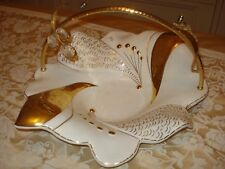 WHITE & GOLD CREAMIC CENTREPIECE TABLE DECORATION SET