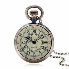 New Quartz Pocket Watch Necklace Long Thin Chain Bronze Steampunk Roman Numeral