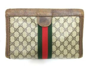 Authentic GUCCI Old Gucci Clutch Bag PVC Leather Brown 90410