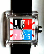 ELBA TEAM ET380 LOCMAN WATCH in Black/White/Redl/Blue/Pink, Black Band-NEW-Boxed